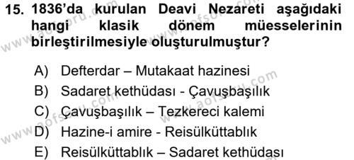 Türk İdare Tarihi Dersi 3 Ders Sınavı Deneme Sınav Soruları 15. Soru