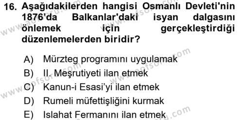 Türk İdare Tarihi Dersi 3 Ders Sınavı Deneme Sınav Soruları 16. Soru