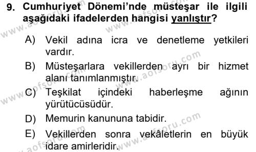 Türk İdare Tarihi Dersi 3 Ders Sınavı Deneme Sınav Soruları 9. Soru
