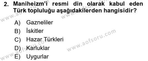 Türk İdare Tarihi Dersi 2017 - 2018 Yılı (Vize) Ara Sınav Soruları 2. Soru