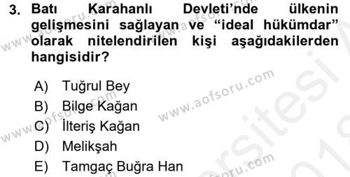 Türk İdare Tarihi Dersi 2017 - 2018 Yılı (Final) Dönem Sonu Sınav Soruları 3. Soru