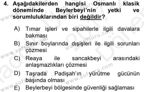 Türk İdare Tarihi Dersi 2017 - 2018 Yılı (Final) Dönem Sonu Sınav Soruları 4. Soru