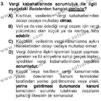 Maliye Bölümü 7. Yarıyıl Vergi Ceza Hukuku Dersi 2013 Yılı Güz Dönemi Tek Ders Sınavı 3. Soru