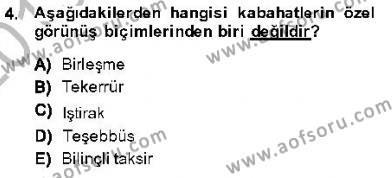 Maliye Bölümü 7. Yarıyıl Vergi Ceza Hukuku Dersi 2014 Yılı Güz Dönemi Dönem Sonu Sınavı 4. Soru
