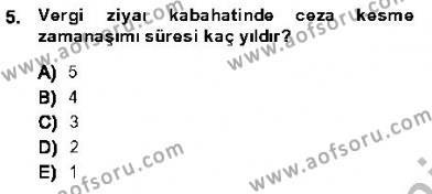 Maliye Bölümü 7. Yarıyıl Vergi Ceza Hukuku Dersi 2014 Yılı Güz Dönemi Dönem Sonu Sınavı 5. Soru