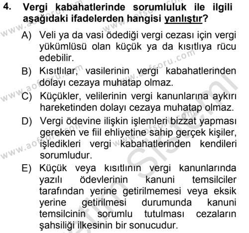 Maliye Bölümü 7. Yarıyıl Vergi Ceza Hukuku Dersi 2014 Yılı Güz Dönemi Tek Ders Sınavı 4. Soru