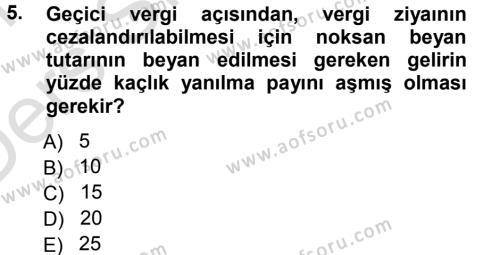 Maliye Bölümü 7. Yarıyıl Vergi Ceza Hukuku Dersi 2014 Yılı Güz Dönemi Tek Ders Sınavı 5. Soru