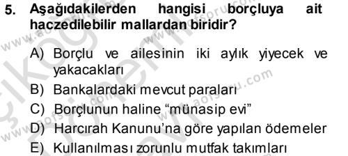 Maliye Bölümü 7. Yarıyıl Vergi İcra Hukuku Dersi 2014 Yılı Güz Dönemi Tek Ders Sınavı 5. Soru