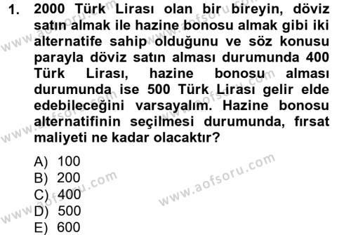 İktisada Giriş Dersi 2012 - 2013 Yılı Ara Sınavı 1. Soru