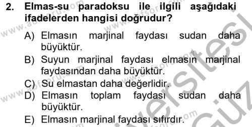 Yerel Yönetimler Bölümü 1. Yarıyıl İktisada Giriş Dersi 2013 Yılı Güz Dönemi Ara Sınavı 2. Soru