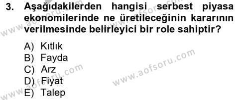 Yerel Yönetimler Bölümü 1. Yarıyıl İktisada Giriş Dersi 2013 Yılı Güz Dönemi Ara Sınavı 3. Soru