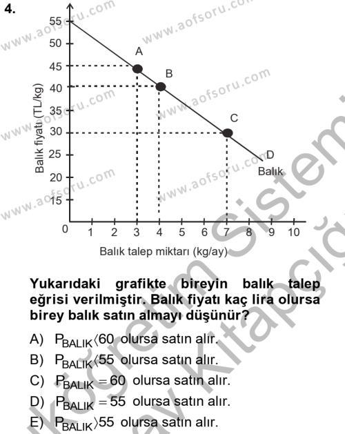 Yerel Yönetimler Bölümü 1. Yarıyıl İktisada Giriş Dersi 2013 Yılı Güz Dönemi Ara Sınavı 4. Soru