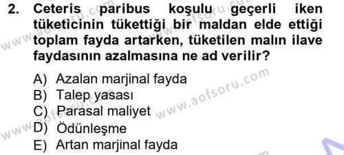 İktisada Giriş Dersi 2012 - 2013 Yılı Dönem Sonu Sınavı 2. Soru