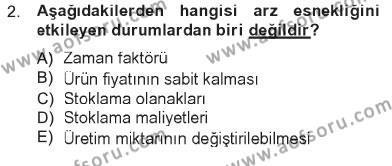 Spor Yönetimi Bölümü 1. Yarıyıl İktisada Giriş Dersi 2013 Yılı Güz Dönemi Tek Ders Sınavı 2. Soru