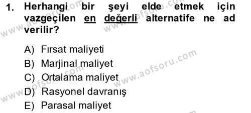 İktisada Giriş Dersi 2013 - 2014 Yılı Ara Sınavı 1. Soru