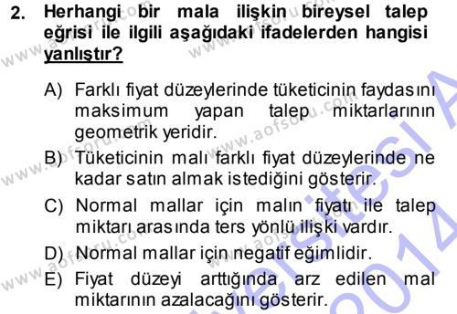 İktisada Giriş Dersi 2013 - 2014 Yılı Ara Sınavı 2. Soru
