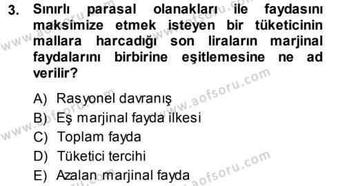 İktisada Giriş Dersi 2013 - 2014 Yılı Ara Sınavı 3. Soru