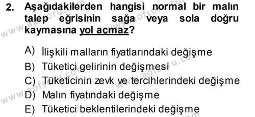 İktisada Giriş Dersi 2013 - 2014 Yılı (Final) Dönem Sonu Sınavı 2. Soru