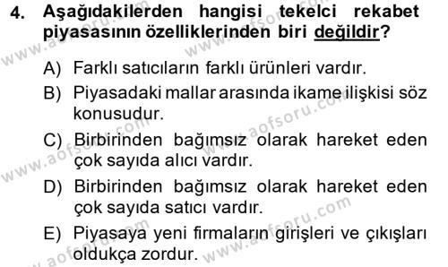 İktisada Giriş Dersi 2013 - 2014 Yılı (Final) Dönem Sonu Sınavı 4. Soru