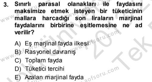 İktisada Giriş Dersi 2013 - 2014 Yılı Tek Ders Sınavı 3. Soru
