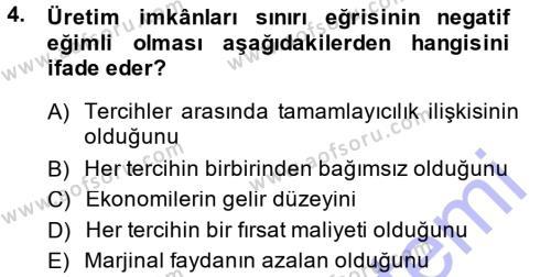 İktisada Giriş Dersi 2014 - 2015 Yılı Ara Sınavı 4. Soru