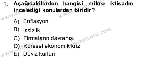 Kültürel Miras ve Turizm Bölümü 1. Yarıyıl İktisada Giriş Dersi 2015 Yılı Güz Dönemi Dönem Sonu Sınavı 1. Soru