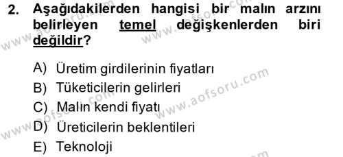 Kültürel Miras ve Turizm Bölümü 1. Yarıyıl İktisada Giriş Dersi 2015 Yılı Güz Dönemi Dönem Sonu Sınavı 2. Soru
