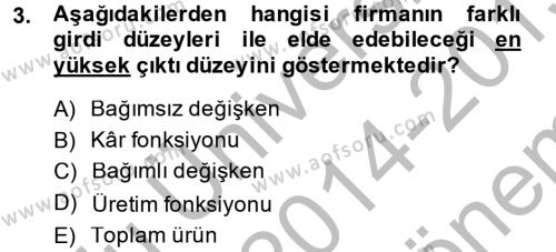 İktisada Giriş Dersi 2014 - 2015 Yılı Dönem Sonu Sınavı 3. Soru