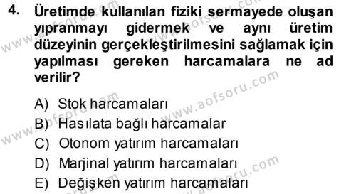 Kültürel Miras ve Turizm Bölümü 1. Yarıyıl İktisada Giriş Dersi 2015 Yılı Güz Dönemi Dönem Sonu Sınavı 4. Soru
