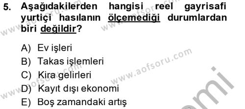 Kültürel Miras ve Turizm Bölümü 1. Yarıyıl İktisada Giriş Dersi 2015 Yılı Güz Dönemi Dönem Sonu Sınavı 5. Soru