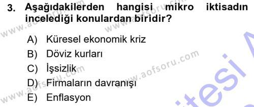 İktisada Giriş Dersi 2015 - 2016 Yılı (Vize) Ara Sınavı 3. Soru