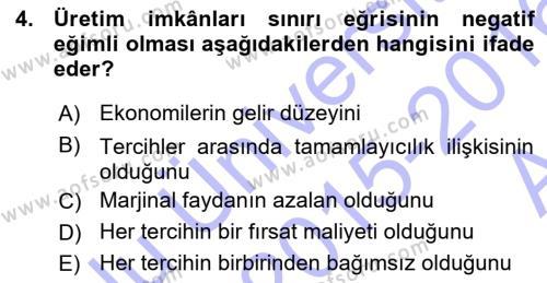 Spor Yönetimi Bölümü 1. Yarıyıl İktisada Giriş Dersi 2016 Yılı Güz Dönemi Ara Sınavı 4. Soru