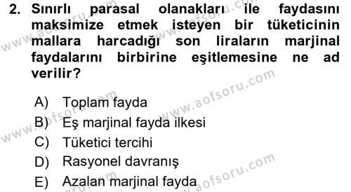 İktisada Giriş Dersi 2015 - 2016 Yılı (Final) Dönem Sonu Sınavı 2. Soru