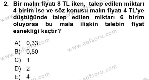 İktisada Giriş Dersi 2016 - 2017 Yılı (Vize) Ara Sınavı 2. Soru