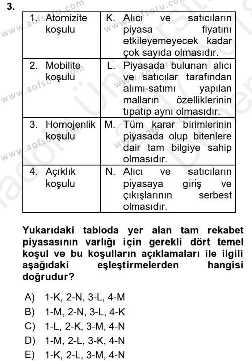 İktisada Giriş Dersi 2017 - 2018 Yılı (Final) Dönem Sonu Sınavı 3. Soru
