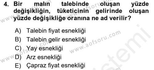 İktisada Giriş Dersi 2017 - 2018 Yılı (Final) Dönem Sonu Sınavı 4. Soru
