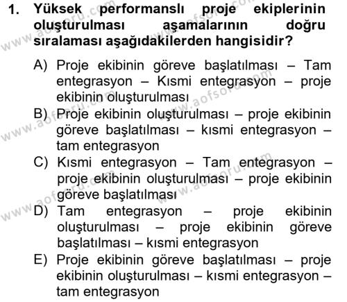 İktisat Bölümü 2. Yarıyıl Proje Yönetimi Dersi 2013 Yılı Bahar Dönemi Ara Sınavı 1. Soru
