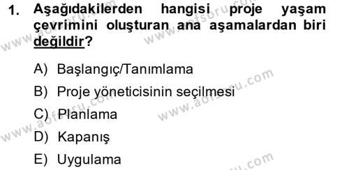 Muhasebe ve Vergi Uygulamaları Bölümü 2. Yarıyıl Proje Yönetimi Dersi 2014 Yılı Bahar Dönemi Ara Sınavı 1. Soru