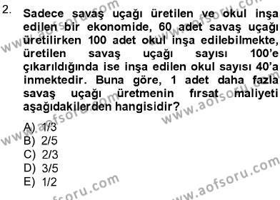 İktisat Bölümü 1. Yarıyıl İktisada Giriş I Dersi 2013 Yılı Güz Dönemi Dönem Sonu Sınavı 2. Soru
