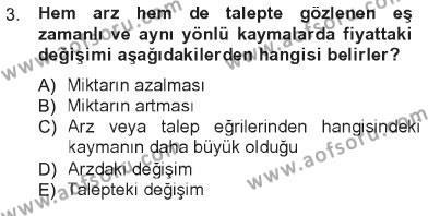 İktisada Giriş 1 Dersi 2012 - 2013 Yılı Tek Ders Sınavı 3. Soru