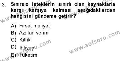 İktisada Giriş 1 Dersi 2013 - 2014 Yılı Ara Sınavı 3. Soru