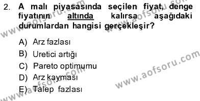 İşletme Yönetimi Bölümü 1. Yarıyıl İktisada Giriş I Dersi 2014 Yılı Güz Dönemi Dönem Sonu Sınavı 2. Soru