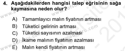 İktisada Giriş 1 Dersi 2016 - 2017 Yılı (Final) Dönem Sonu Sınav Soruları 4. Soru