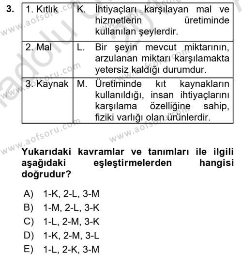 İktisada Giriş 1 Dersi 2017 - 2018 Yılı (Vize) Ara Sınav Soruları 3. Soru
