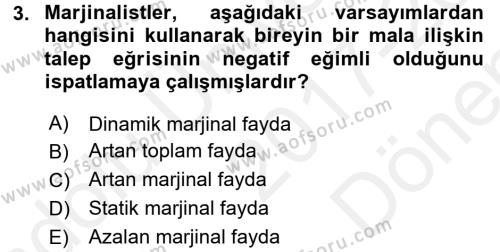 İktisada Giriş 1 Dersi 2017 - 2018 Yılı (Final) Dönem Sonu Sınav Soruları 3. Soru