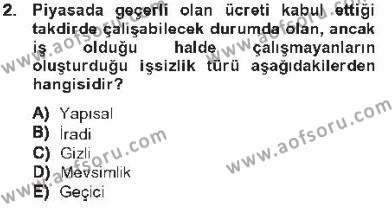 İktisada Giriş 2 Dersi 2012 - 2013 Yılı Tek Ders Sınavı 2. Soru