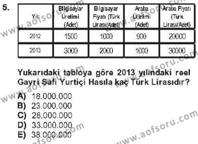 Kamu Yönetimi Bölümü 2. Yarıyıl İktisada Giriş II Dersi 2013 Yılı Bahar Dönemi Tek Ders Sınavı 5. Soru