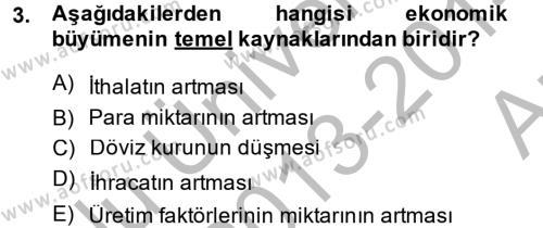 İktisada Giriş 2 Dersi 2013 - 2014 Yılı Ara Sınavı 3. Soru
