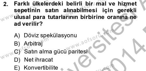 İktisada Giriş 2 Dersi 2013 - 2014 Yılı Dönem Sonu Sınavı 2. Soru