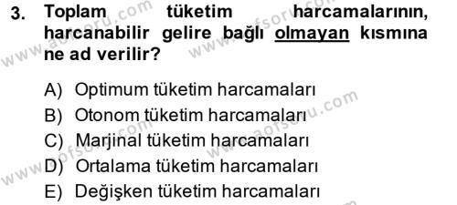 İktisada Giriş 2 Dersi 2013 - 2014 Yılı Dönem Sonu Sınavı 3. Soru